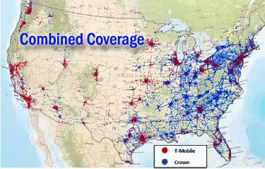 Coverage map of Crown Castle and T-Mobile Towers