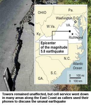 Earthquake spares East Coast cell towers