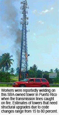 Self Supporting Tower catches on fire during Puerto Rico rehabilitation work