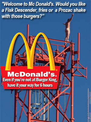 Troubled tower climber lured down with two burgers