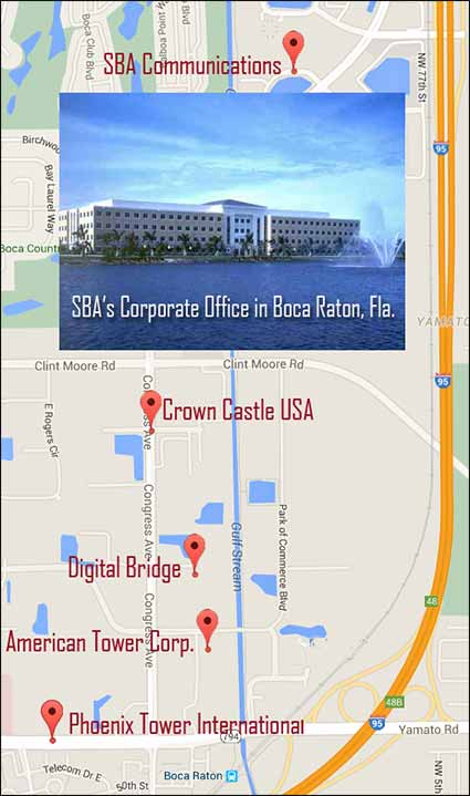 Tower row in Boca Raton, Fla. is a sales representative's dream if they can set up multiple appoints of companies along the two-mile stretch.