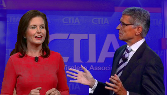 CTIA CEO Meredith Attwell Baker and FCC Chairman Tom Wheeler had spirited conversations during day one of CTIA Super Mobility 2015