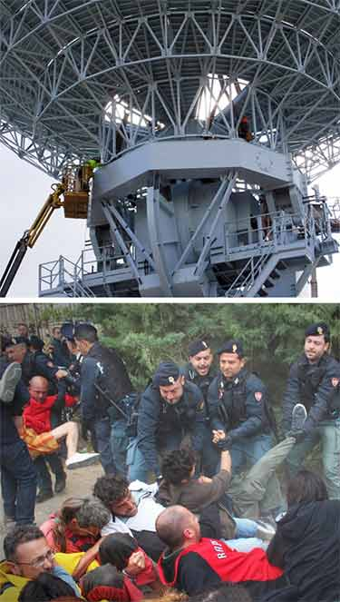 Workers have completed the installation of the three MUOS satellite dishes, but have not tested them. If the U.S. Navy ground station does not become operational, over 25% of the military smartphone-type network will not function.  Italians frequently protest the site and are arrested by police.
