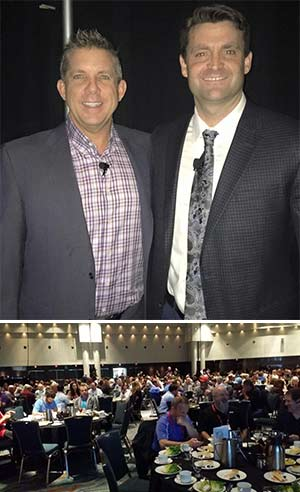 New Orleans Saints head coach Sean Payton (left) and NATE Executive Director Todd Schlekeway during Payton's keynote luncheon address to an overflow crowd.