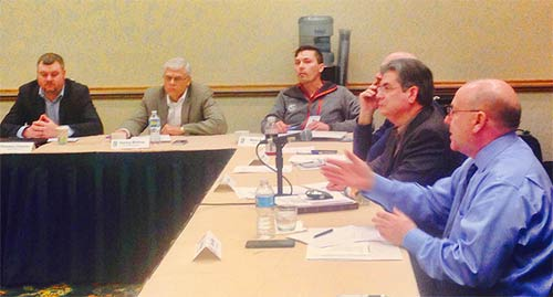 Don Doty, at right, discusses a number of initiatives that the NWSA is working on. Doty recently replaced Jim Tracy as President of the Board of Directors, who was recently elected as Chairman of the National Association of Tower Erectors. Art Pregler, to the right of Doty, chaired the Governors meeting as its Chairman.