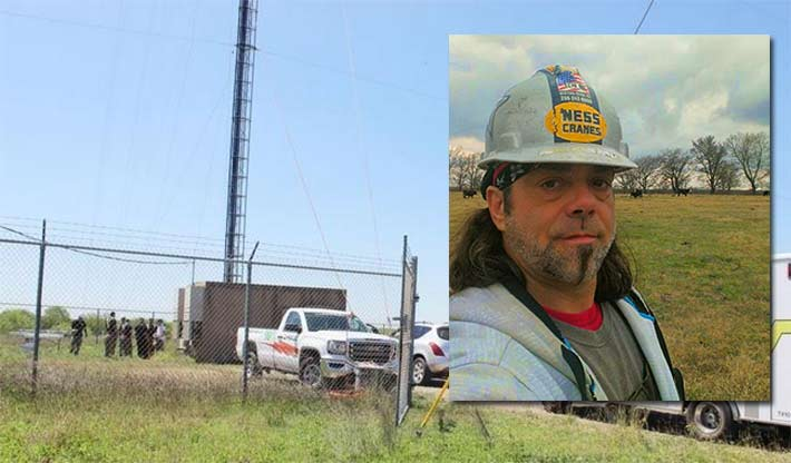 Troy White, 49, was seriously injured after a safety climb cable appeared to have pulled from its anchorage. He is still in critical condition.
