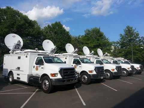 print Satellite Cell Site on Light Trucks (SatCOLT) stand ready for deployment