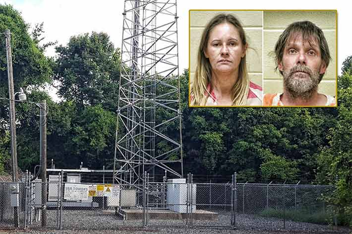 "Michelle Herrada and Charles Krupnik were arrested after stripping copper from cell towers, one being this SBA Communications site. Krupnik told authorities he was ""Simply trying to make a living."""