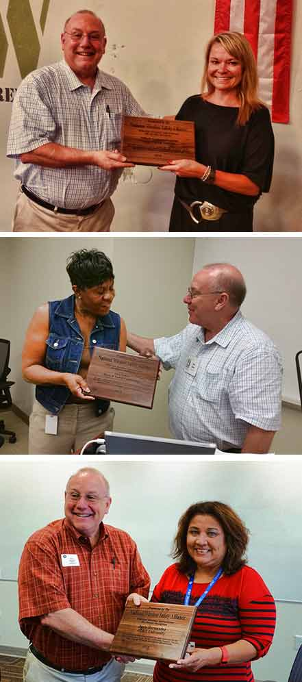 NWSA President Don Doty presented plaques of appreciation to, from top, Lisa Hanlon, Lisa Trotter and Janie Hernandez