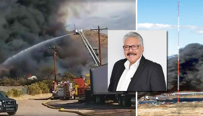 Owner and on-air personality Oscar Felix was broadcasting when the fire knocked out his station's signal.