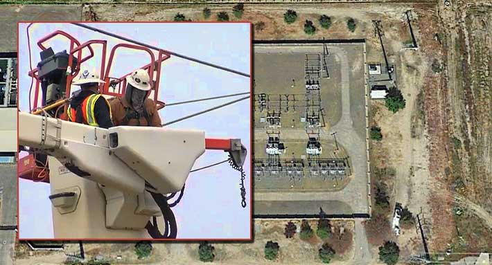 The tower tech had to remain in the bucket for approximately two hours as workers de-energized the lines.