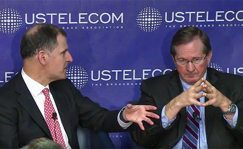 Mark Jamison (right), advisor to the Trump FCC transition team, ponders a question from USTelecom President and CEO Jonathan Spalter