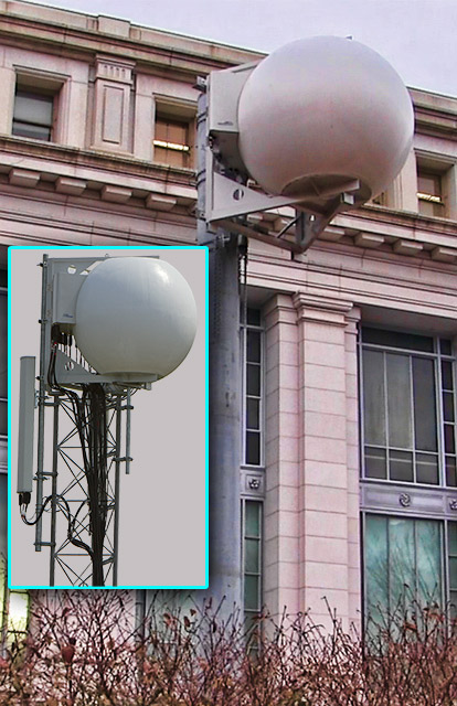Verizon is rolling out their MatSing Ball technology antennas. AT&T (inset) has been using them since 2014.