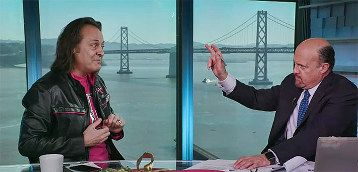 Bombastic T-Mobile CEO John Legere informed TV personality Jim Cramer that he could not discuss possible deals because it could be considered collusive.