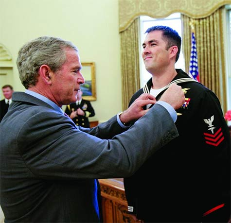 Luttrell served in Iraq and Afghanistan, and was awarded the Navy Cross for combat heroism in 2006 by President George W. Bush