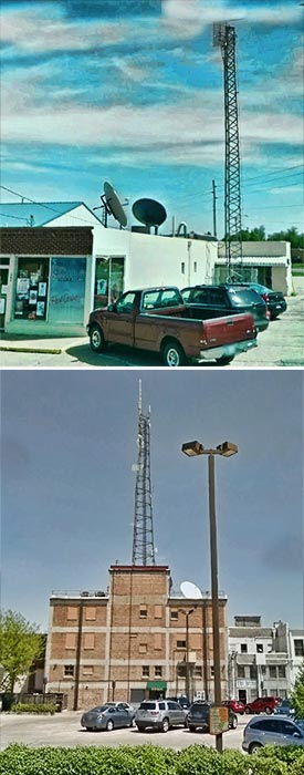 The tech fell as he was dismantling the tower, pictured at top. The three broadcasters that shared it moved to the N. Santa Fe. Ave. building and structure above.