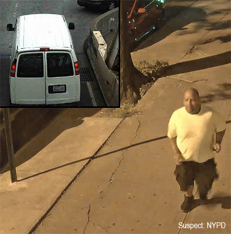 Police suspected that the man in this surveillance photo was one of the three suspects. They also thought that the above van was used in the robberies.
