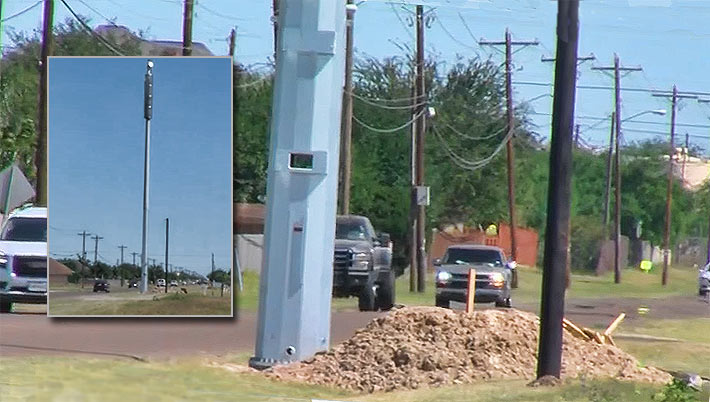 This DAS pole was erected in Texas three feet from the road in late March. Zoning officials had it removed.