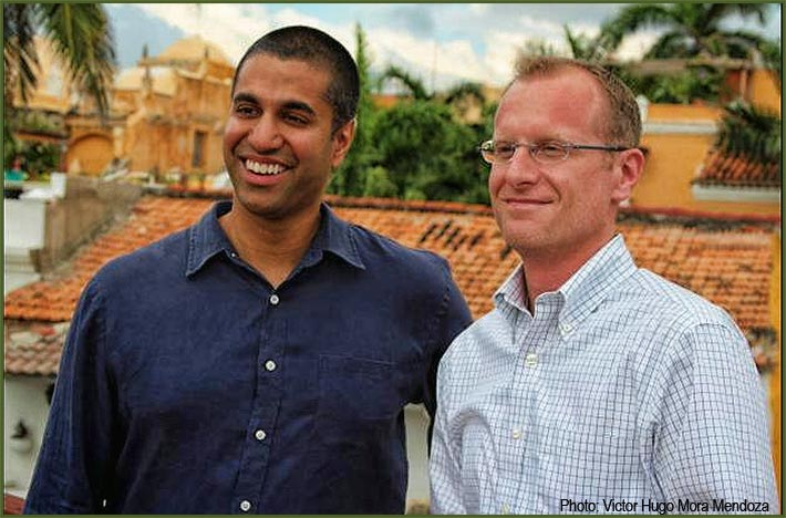 When he was a Commissioner, FCC Chairman Ajit Pai and his legal counsel, Brendan Carr, discussed with Colombian officials how technology can combat poverty.