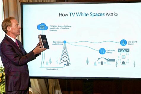 Microsoft President Brad Smith displays a prototype white space receiver at yesterday's media luncheon.