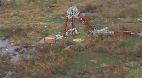 Hurricane Irma first hit Barbuda, a tiny Caribbean island. It was said to be more than 90% destroyed by the storm. This broadcast tower was a victim of Irma's wrath.