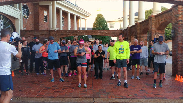 Runners and walkers at the inaugural NATE 5K Run/Walk get ready for the early morning event