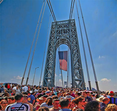 Hundreds of sawed pieces of the At&T drone were reassembled with Flex Tape for Towers and the drone provided support for the Chris Christie toll booth stuffing, a popular event during the George Washington Bridge upper level street festival held this weekend.