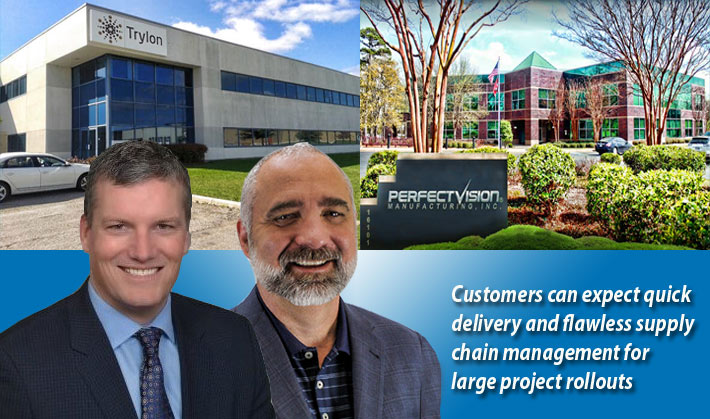 Trylon CEO Paul Royal, at left, and Perfect Vision Manufacturing CEO Bob Chastain believe they havee brought to the market what their customers are looking for: market leading innovation, national distribution footprint, strong manufacturing capability and the full support of two 'tower expert' engineering teams.