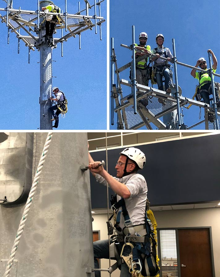 FCC Commissioner Brendan Carr practiced his climbing technique on a training tower inside the new Sioux Fall Tower & Communications Training Center in Sioux Falls, S.D. He then used that training to climb a monopole and appreciate the exacting disciplines required of a tower technician.