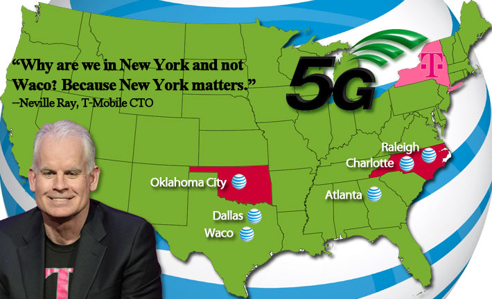AT&T said that they'll be adding 5G service to Oklahoma City, Raleigh and Charlotte this year. They previously announced their build plans for 5G in Dallas, Waco and Atlanta. T-Mobile and AT&T have an ongoing public relations rumble about each carrier's rollout.
