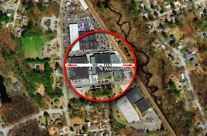 The Wilmington zoning board said that the site was denied because it was five feet short of a 50-foot residential setback. It also violated other setback standards.