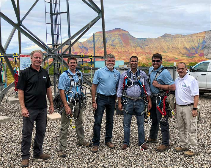 Pictured just before FCC Chairman Ajit Pai's climb are: (L to R) Mark Judson (SBA Communications); Dan Hancock (EasTex Tower, LLC); Jim Miller (EasTex Tower, LLC); Pai; Justin Miller (EasTex Tower, LLC) and David Sams (SBA Communications).