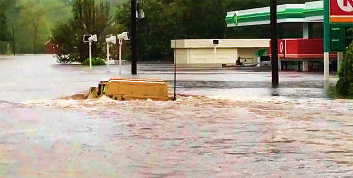 A marine and two first responders from Onslow County, N.C. tried to get a military Humvee through a flooded area and had to be rescued. Onslow County has over 50% of its cell sites out of service.