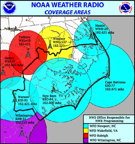 The four transmitters in the blue circles were knocked out by Hurricane Florence's strong winds