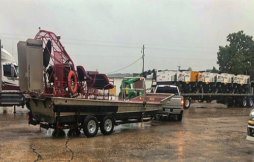 CB Towers readies generators for cell site deliveries and hookup. The company has been dealing with severe flooding in many deployment locations.