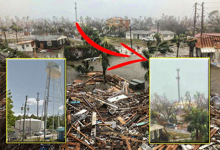 This 153-foot American Tower monopole in Mexico Beach survived Hurricane Michael's 155 mph assault, but a city water tower adjacent to it appears to have collapsed.