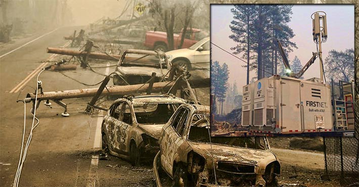 AT&T set up a Satellite Cell on Light Truck (SatCOLT) at Canyon Vie Dr. in Paradise, Calif. to help communicate and coordinate their efforts to fight the devastating Camp Fire. (Inset photo: AT&T California).