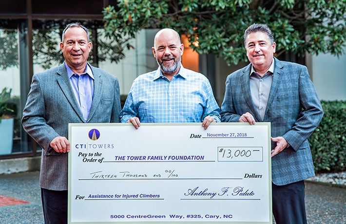 Pictured, left to right, are Tony Peduto, CEO CTI; Jim Tracy, Executive Director Tower Family Foundation; and Loren Stearns, VP of Operations, CTI.