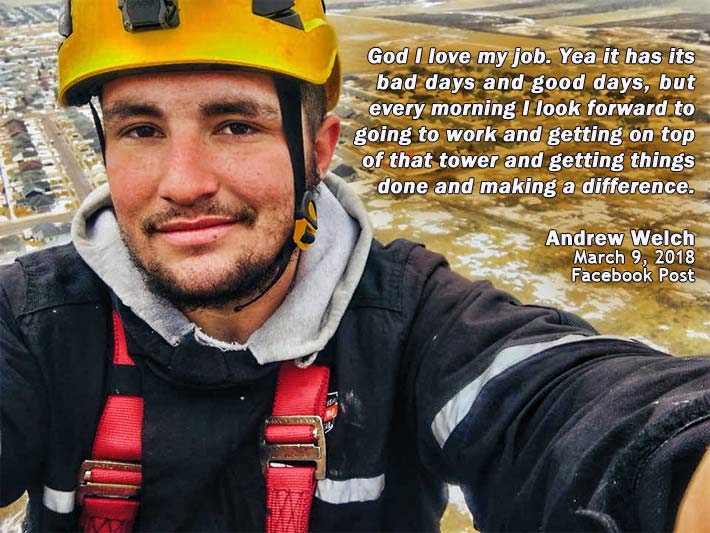 South Dakota authorities said that Andrew Michael Somas died on Jan. 10, 2019 after falling off a tower from an unknown height. He had a Facebook page under the name of Andrew Welch.