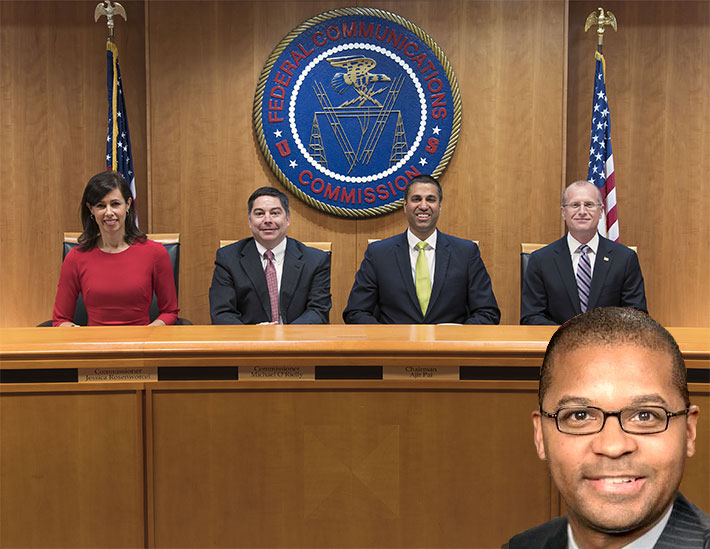 When sworn in, Geoffrey Starks will be joining fellow Democratic Commmissioner (from left) Jessica Rosenworcel and Republicans Michael O'Rielly, Chairman Ajit Pai and Brendan Carr.