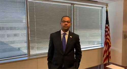 Commissioner Geoffrey Starks in his barren office moments before he was sworn in
