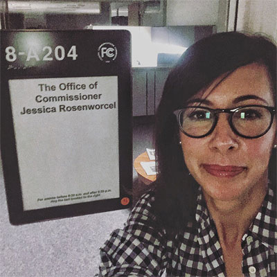 FCC Commissioner Jessica Rosenworcel Tweeted this picture of herself yesterday in the FCC's nearly vacant headquarters.