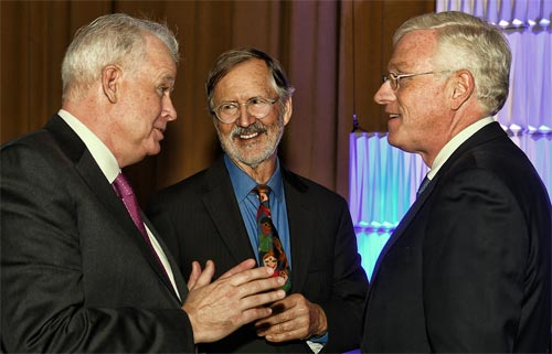 WIA Hall of Fame inductees (from left) Neville Ray, EVP and CTO of T-Mobile; Steven Dodge, former Chairman and CEO of American Tower, and John Kelly Former CEO and Chairman of Crown Castle. Also inducted in November were Steven Bernstein, founder and former CEO of SBA Communications, and José Mas, CEO of MasTec.