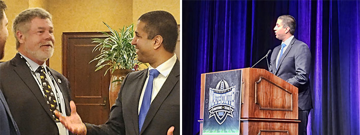Former NATE Vice-Chairman Jim Miller (left) and FCC Chairman Ajit Pai enjoy a lively conversation prior to Pai's keynote address at NATE UNITE 2019 in Grapevine, Tex.