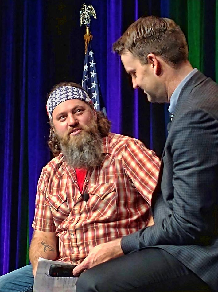 NATE Executive Director Todd Schlekeway interviewed Willie Robertson during the NATE luncheon sponsored by SBA Communications