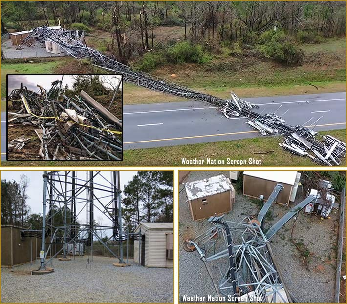 The 250-foot, four-tenant self-supporting tower owned by American Tower, was dragged to the side of the highway after it collapsed, blocking the east bound lanes of U.S. 280 in Smiths Station, Alabama.