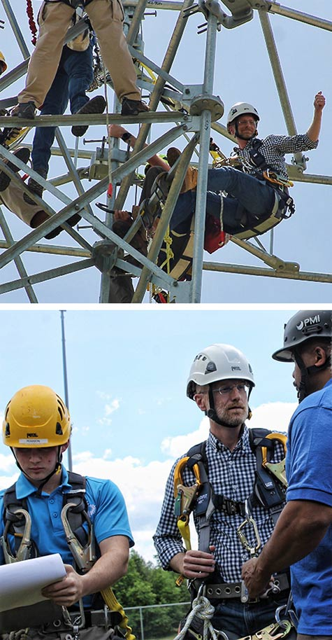 Even though he has climbed a number of times, Aiken Technical College instructors provided him with a required refresher course before climbing the 90-foot training tower
