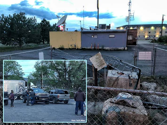 The 198-foot guyed tower collapsed into a parking lot of Garabaldi's Restaurant at 7:30 p.m.