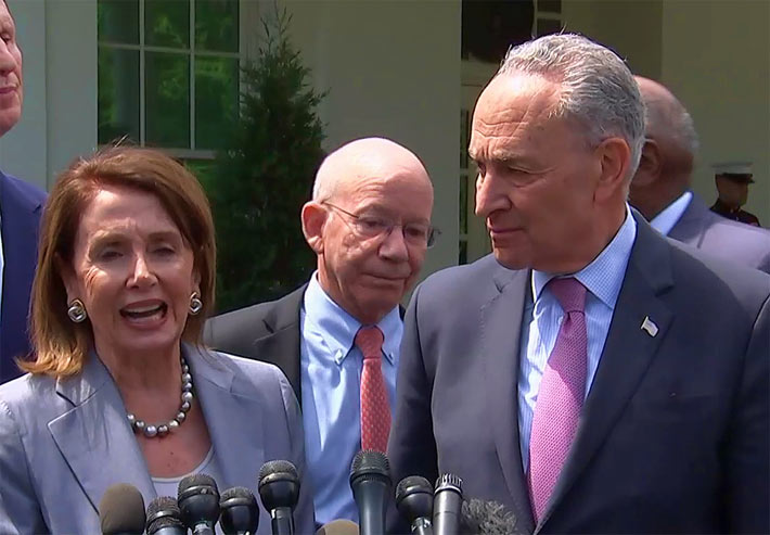 AT a news conference this afternoon, Pelosi and Schumer