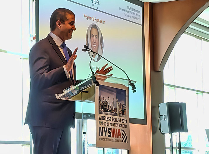 FCC Chairman Ajit Pai lauded wireless infrastructure companies and their workers as the 'unsung heroes' during last week's New York State Wireless Association conference